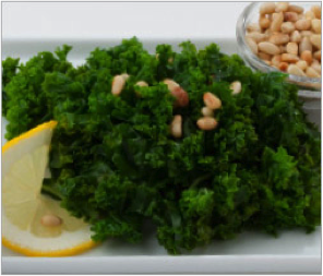 Reset food recipe Kale with Pine Nuts