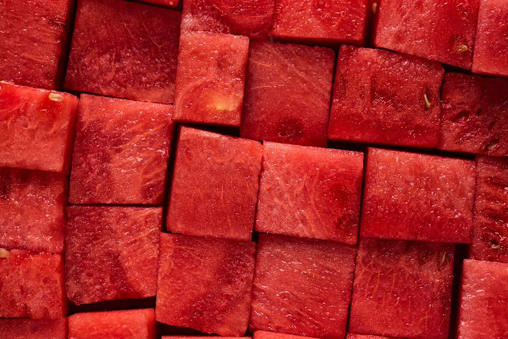 Reduce post workout muscle soreness with watermelon. Chunks of watermelon.