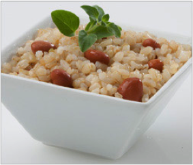Reset food recipe Pinto Beans and Rice. Rice and beans in a bowl