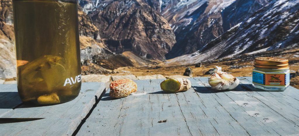 Nutrition and fitness tips for trekking at attitude. Tiger balm, garlic, ginger and a date on a table with the Himalayan mountains in the backdrop