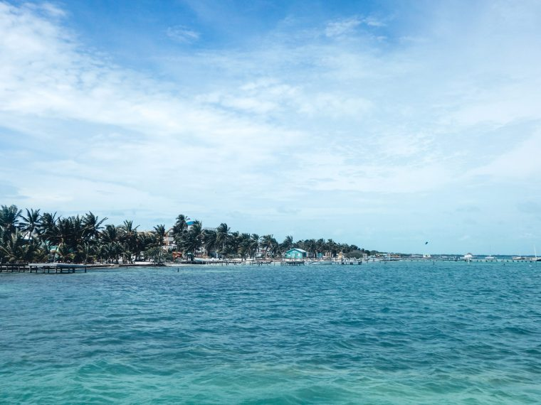 Travelling Caye Caulker the tropical paradise. A view of the island whilst arriving arriving on the ferry