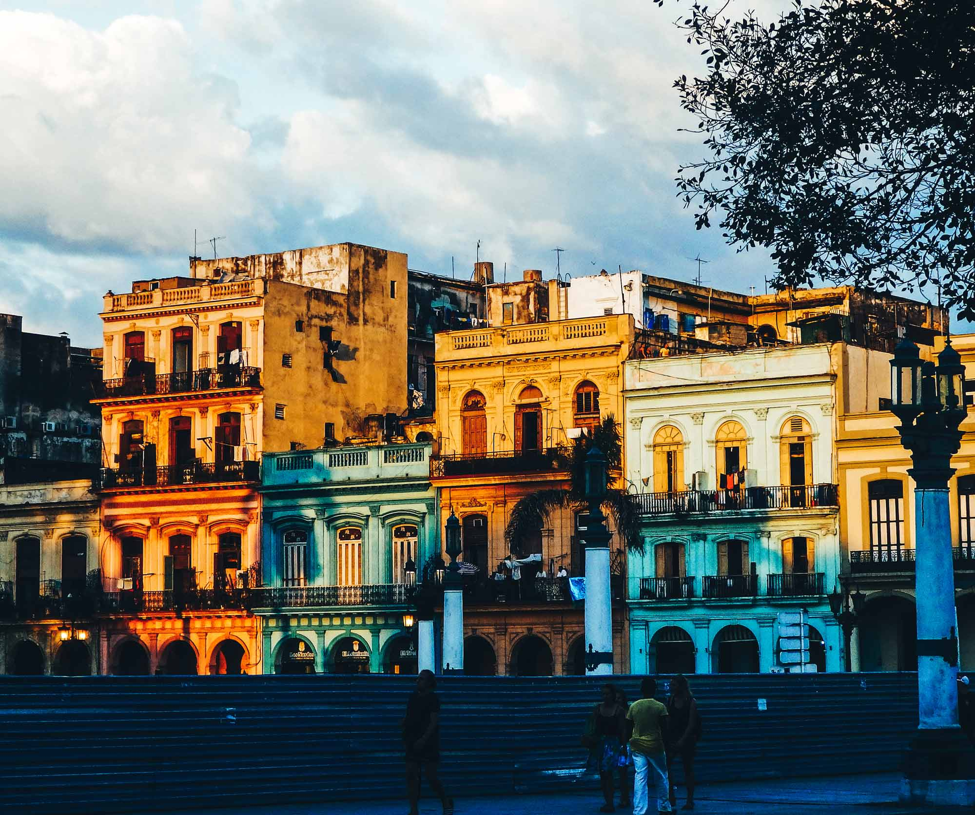 Here's why you'll feel at home backpacking Havana. A row of old Havana buildings in the town centre