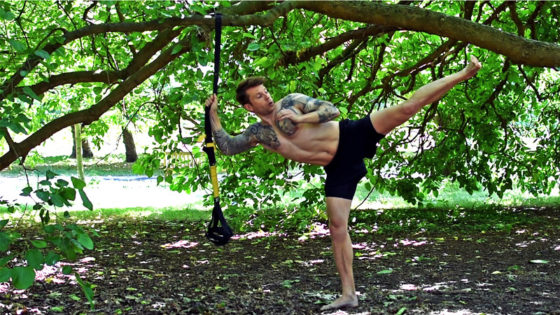 Exercise for lower back pain and hips strengthening. Man performs a side kick for hip strengthening