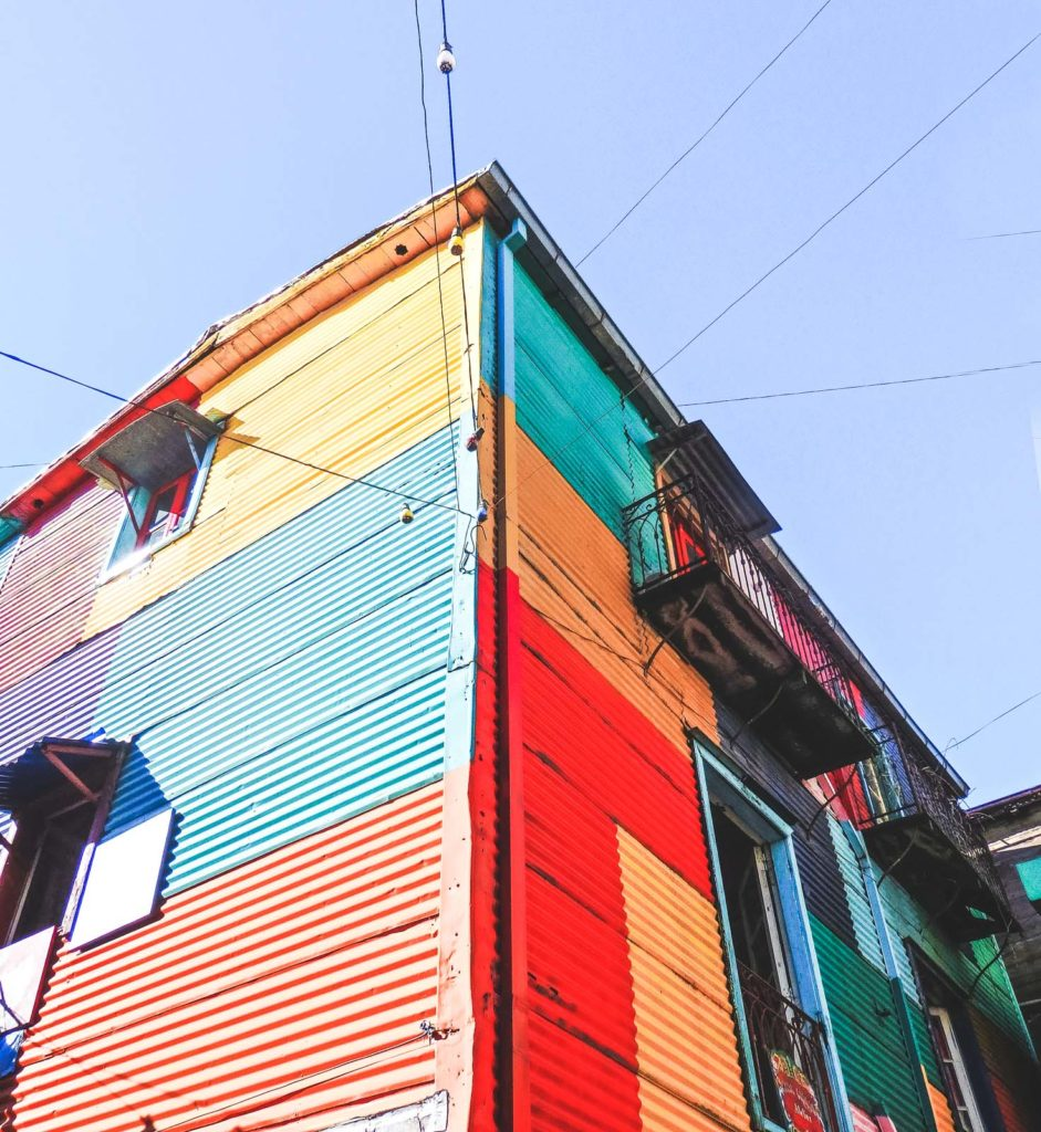 Here's why after travelling Buenos Aries I want to live there. One of the multi-coloured building in Bocas