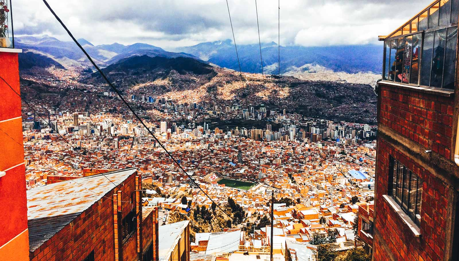 Advice on what to prepare for backpacking La Paz. The view from the very top of the teleferico looking over La Paz