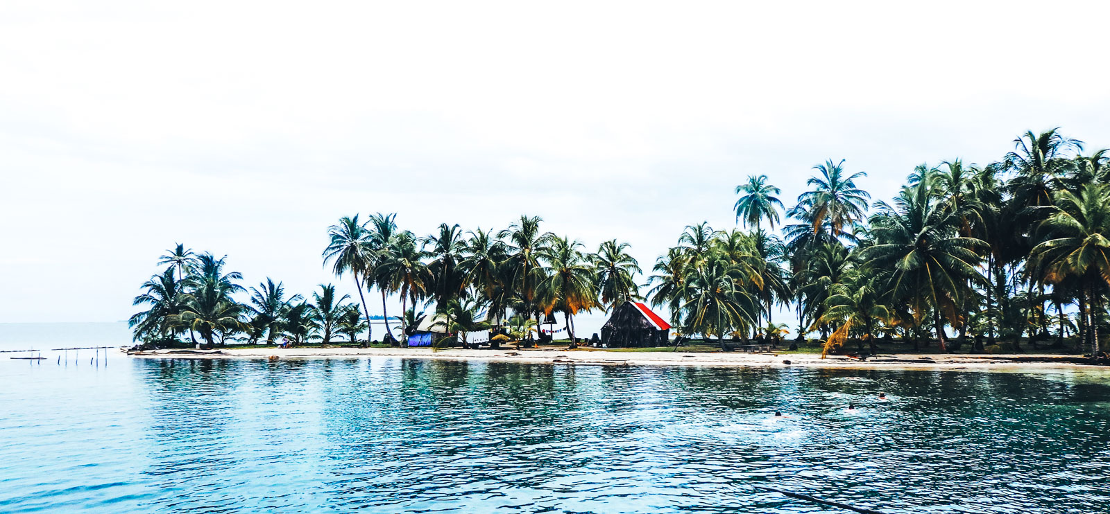 Sailing San Blas Islands the epic 5 day sea adventure. A view of one of the islands from the boat with a small hut in between the palm trees