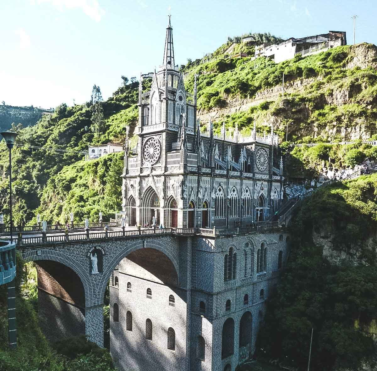 How to see The Las Lajas Sanctuary of Ipiales. The church built into the side of the hill with it's detailed architecture