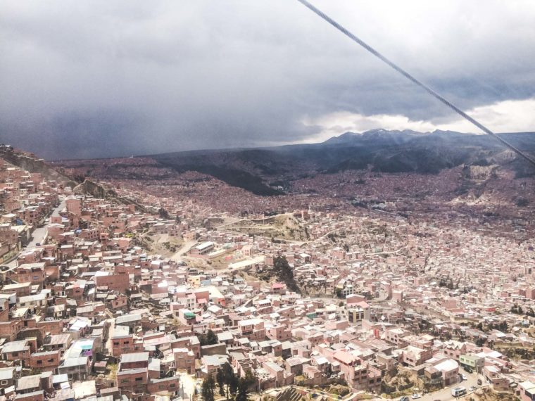 Advice on what to prepare for backpacking La Paz. The view of La Paz from the top of the Teleferico