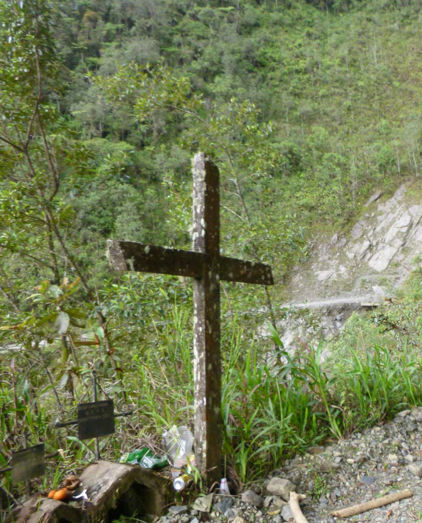 Advice on what to prepare for backpacking La Paz. A grave stone on the edge of death road