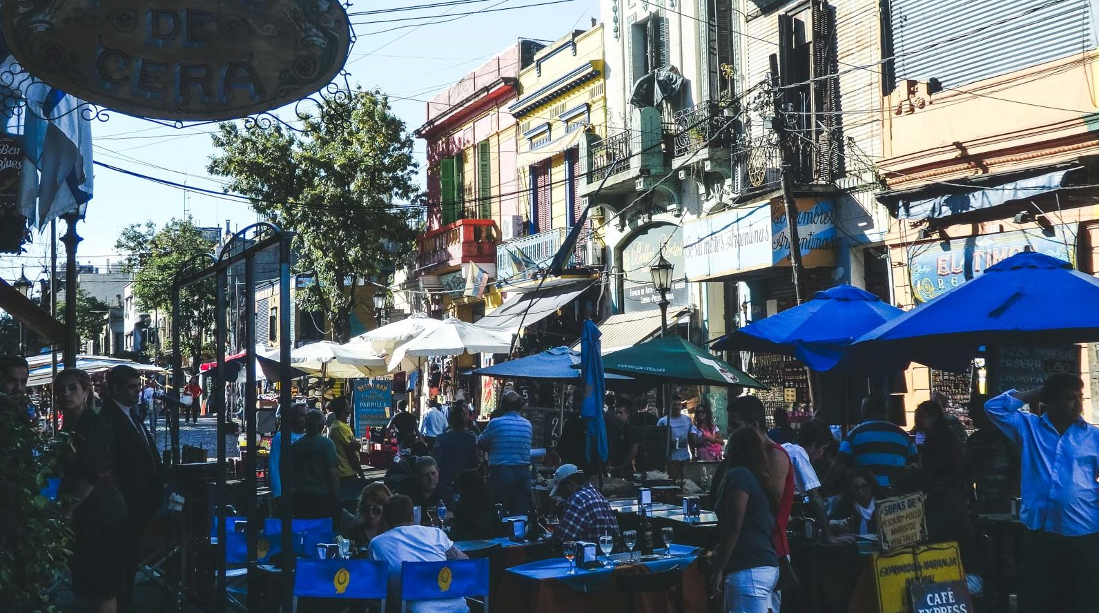 Here's why after travelling Buenos Aries I want to live there. A view of the The busy streets in down town Bocas with people eating and wandering
