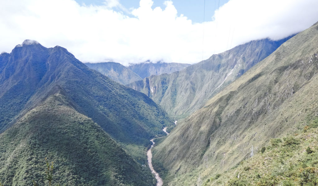Trekking the Inca Trail to Machu Pichu. The view on the 2nd day looking down through The Andes mountains