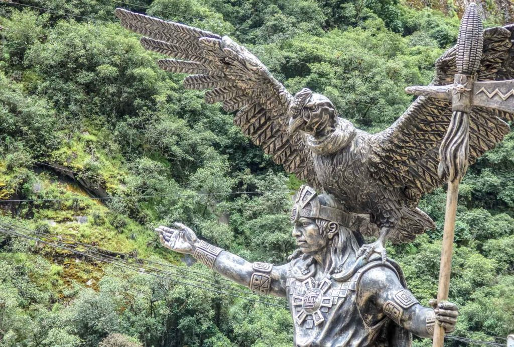 Trekking the Inca Trail to Machu Pichu. The statue of the Machu Pichu King with a condor on his shoulders in Aguascalientes