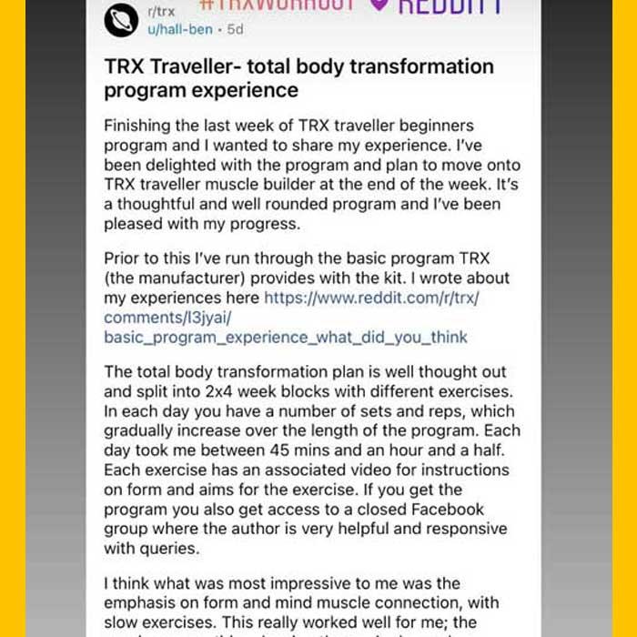TRX Beginner Total Body Transformation Program